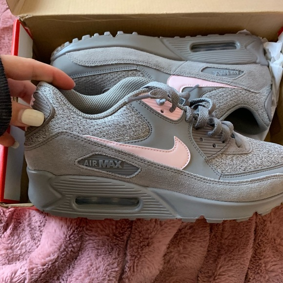 Nike air max 90 essential men's grey gray pink NWT